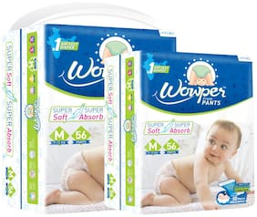Wowper Fresh Pants Diapers - M (Set of 2) 56 Pieces in each pack