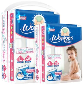 Wowper Fresh Pants Diapers - L (Set of 2) 48 Pieces in each pack