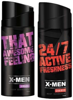 X-Men Deodorant Spray Amaze+Charge (Pack Of 2 X 150 Ml)