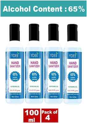 YDEE Hand Sanitizer,65% Alcohol Content - 100 ML ( Pack of 4 )