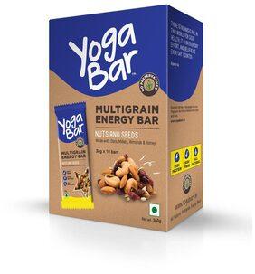 Yogabar Multigrain Energy Bars - 380gm (Nuts and Seeds, Pack of 10, 38gm x 10 Bars)