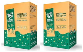 Yogabar Breakfast Protein Almond Coconut Bars - 300g, 6 x 50 g (Pack of 2)