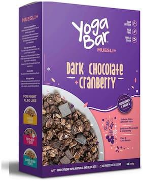 Yogabar Wholegrain Breakfast Muesli - Dark Chocolate + Cranberry, 400g (Pack of 2)