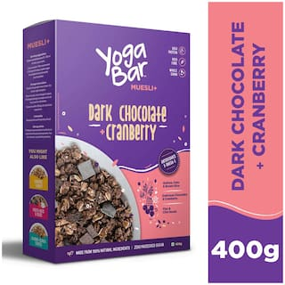 Yogabar Wholegrain Breakfast Muesli+ - Dark Chocolate + Cranberry;400g