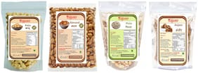 YUGANTAR Dry Fruits Combo Cashews, California Almonds, Pistachios, Dried Figs 100g Each (Pack Of 4)