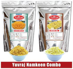 Yuvraj Bikaneri Aloo Bhujiya 400g & Moong Dal Snacks For Tea Time 400g (Pack of 2)