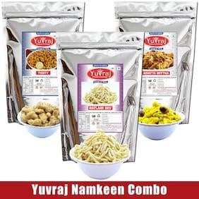YUVRAJ Namkeen Testy (sing bhujiya )300 g; Ratlami sev 300 g & khatta meetha snacks 300g ( Pack of 3 )