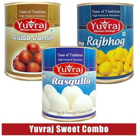 Yuvraj Rasgulla -1 kg And Gulab jamun-1 kg And Rajbhog -1 kg Indian sweets Gift ( Pack of 3)