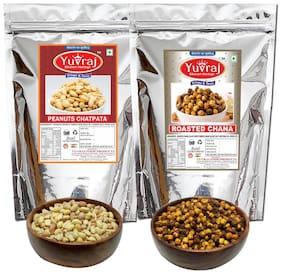 Yuvraj Snacks Salted Peanuts 350 g & Roasted Black Channa Namkeen 350 g (Pack Of 2)
