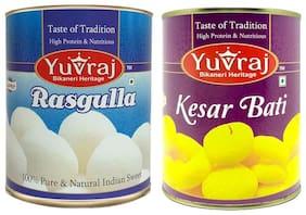 Yuvraj Sweets Kesar Bati 1kg Rasgulla 1kg Tin pack (Pack Of 2)