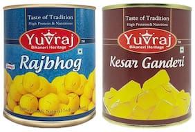 Yuvraj Sweets Rajbhog1kg Kesar Ganderi 1kg Tin pack (Pack Of 2)