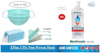 Z-plus 3 Ply masks (Pack of 100)   and Free Medimade 500 ml Sanitizer with 70% Alcohol