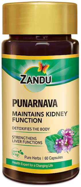 Zandu Punarnava Capsules;With Goodness of Natural Punarnava Extract known for Good Gut Health & for Healthy Appetite;Helps for Heart and Urinary Health - 60 Veg Capsules