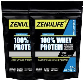 Zenulife 100% Pure Unflavoured 24g Whey Protein 100g (Pack of 2)