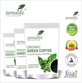 Zenulife Green coffee beans 800 g Pack of 3