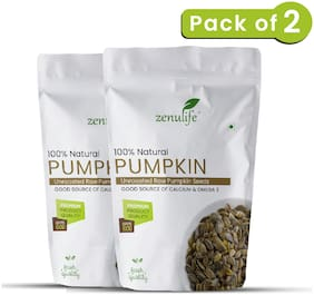 Zenulife Premium Pumpkin seeds - Raw, Authentic, All Natural 50g Pack of 2