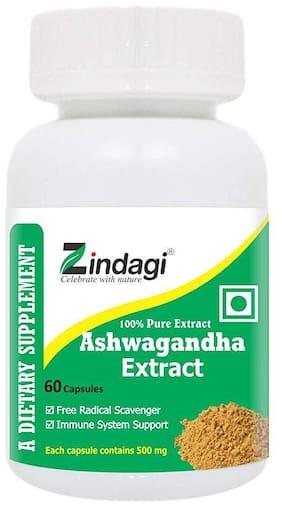 Zindagi Ashwagandha Extract Capsules - 100% Pure Extract - Health Supplement - Boost Energy Levels & Stamina 60 Capsules