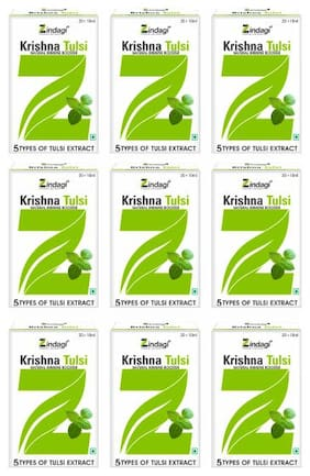 Zindagi Krishna Tulsi Ras - Natural Tulsi Leaves Drops - Pure Punch Tulsi Liquid 20ml (Buy 6 Get 3 Free)