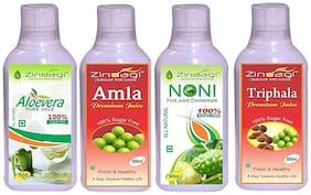 Zindagi Noni Juice, Amla Juice, Triphala Juice & Aloevera Juice - Herbal Noni Fruit Juice (Combo Pack)
