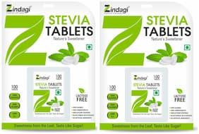 Zindagi Stevia Tablets - Stevia White Powder Tablets -Stevia Leaves Powder -100 Tablets(Pack Of 2)