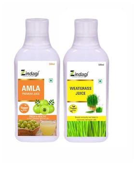 Zindagi Wheatgrass juice & Amla juice (100% Pure Extract) Combo Pack-(500ml Each) Immunity/Immunity Booster