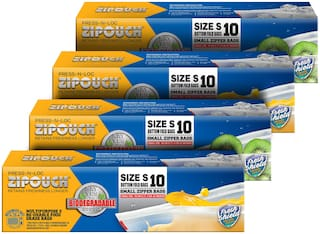 ZIPOUCH Press-N-Loc Biodegradable (Small) Zipper Lock Bags Microwave & Freezer Safe Retains Freshness Longer 42 Microns 10 pcs Each ( Pack of 4 )
