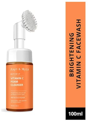 ZM Zayn & Myza Vitamin C Foaming Face Wash With Built-In Deep Cleansing Brush - Gently Exfoliates & Brightens (100 ml)