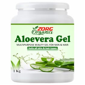 Zorg Organics Pure Natural Raw Aloe Vera Gel - Ideal for Skin Care;Face;Acne Scars;Hair Treatment (1kg) (Pack of 1)