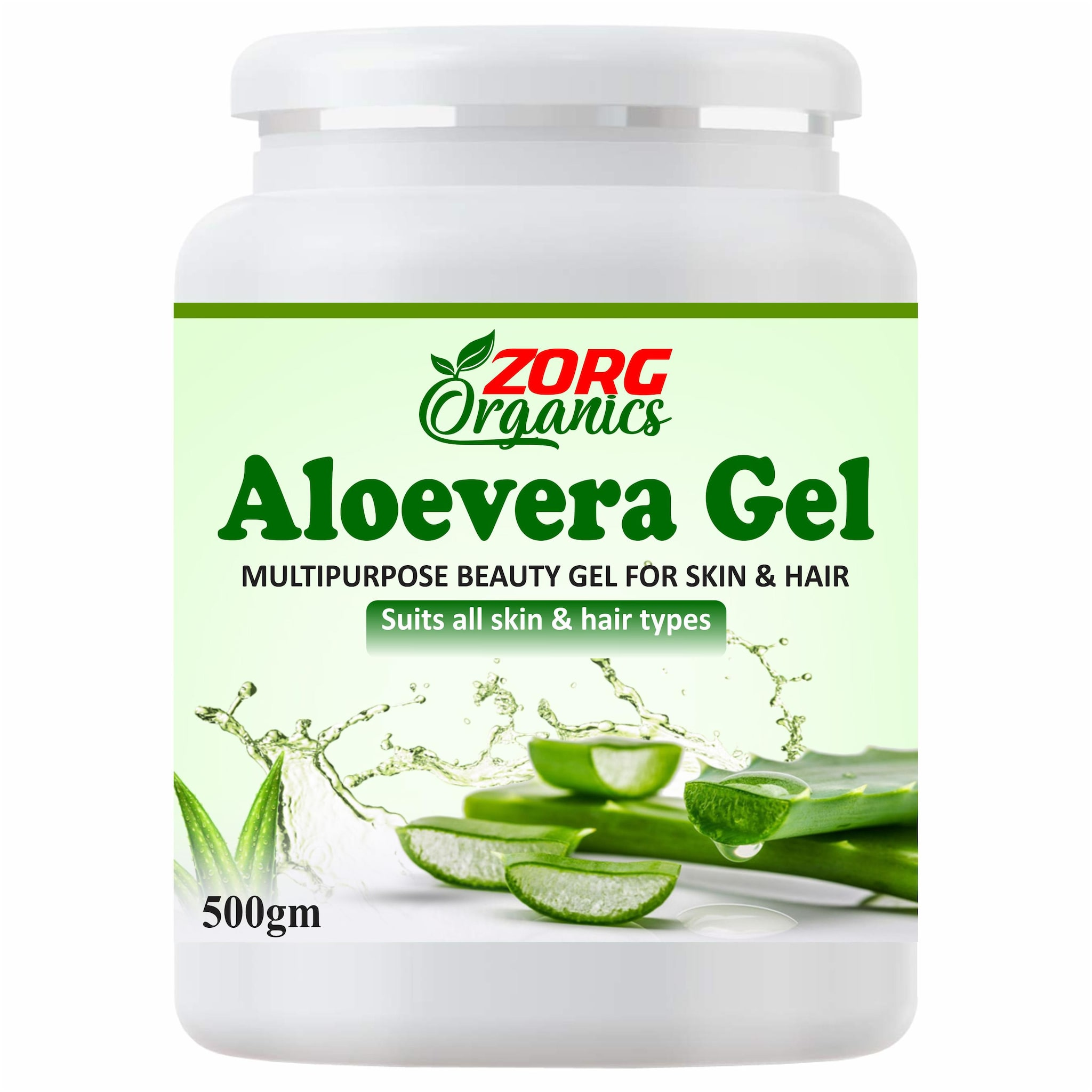 Zorg Organics Pure Natural Aloe Vera Gel - Ideal for Skin Treatment;Face;Acne Scars;Hair Treatment (500 g) (Pack of 1)