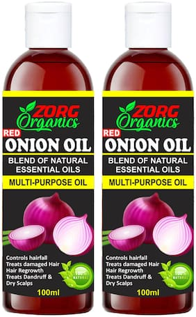 Zorg Organics Onion Oil For Hair Growth 100% Natural Hair Oil (100 ml) (Pack of 2)