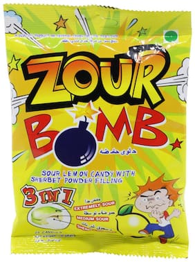 Zour Bomb Sour Lemon Candy - with Sherbet Powder Filling 3 in 1 Extremely  Medium  Sherbet Sour 110 g