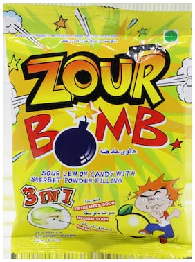 Zour Bomb Sour Lemon Candy - with Sherbet Powder Filling 3 in 1 Extremely  Medium  Sherbet Sour 110 gm
