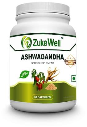 Zukewell 100 % Pure Ashwagandha Extract 60 Capsule 500 mg - Pack of 1 Immunity/Immunity Booster