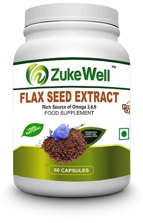 Zukewell Flax Seed Extract 500 mg (60 Veg Capsules) For Joint Pain - Pack of 1