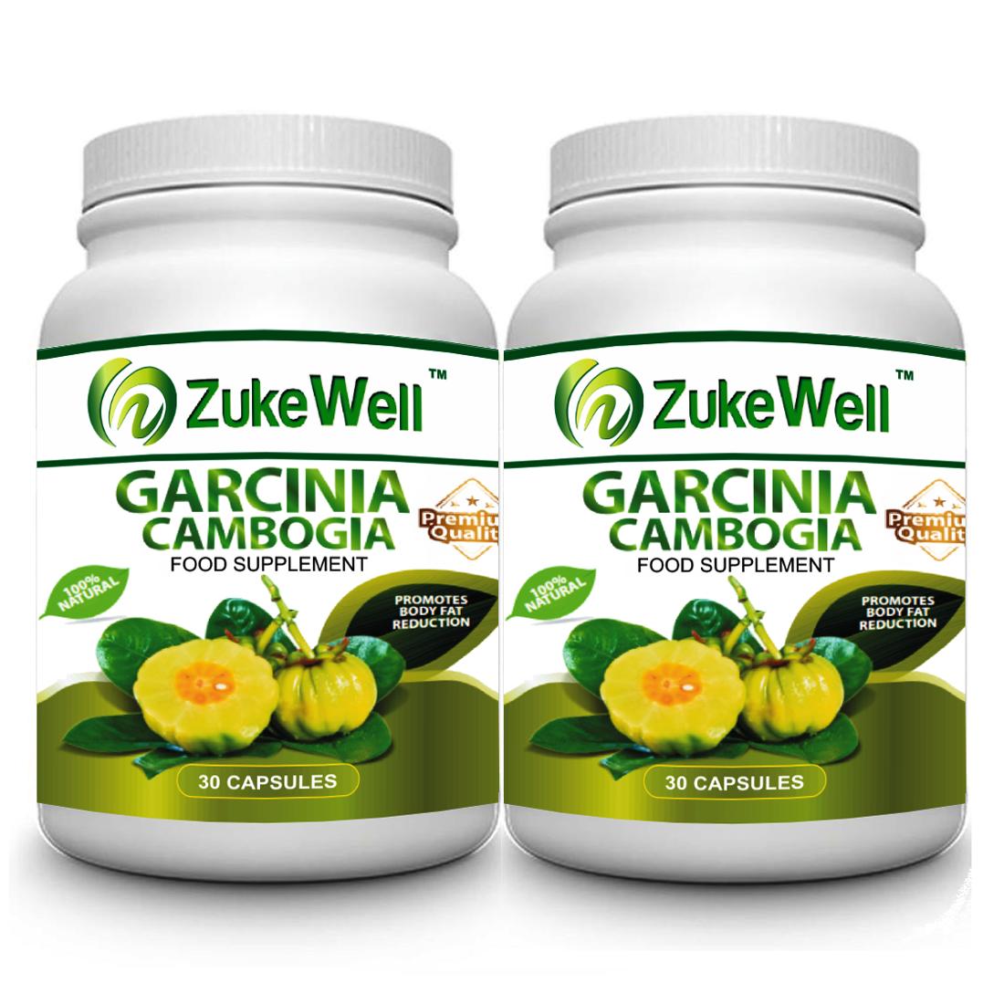 Zukewell Garcinia Cambogia Extract 500 mg  60% HCA  30 Veg Capsules   Pack of 2
