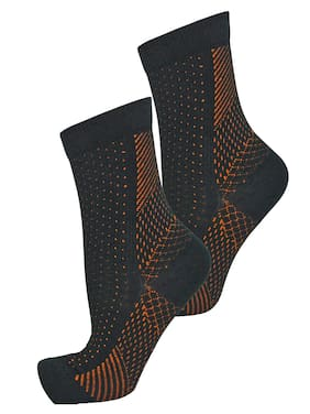 ZURU BUNCH Cooper Anti-Fatigue Foot Sleeves for Injury Rehab & Joint Pain Ankle Brace Unisex Foot Support (Black) (1 PAIR)