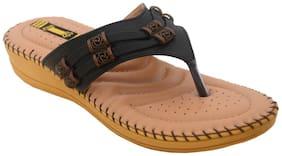 1 Walk Women Black Slippers & Flip flops