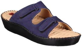 1 WALK COMFORTABLE LEATHER DR SOLE WOMEN-FLATS/SANDALS/FANCY WEAR/PARTY WEAR/ORIGINAL/CASUAL FOOTWEAR-BLUE
