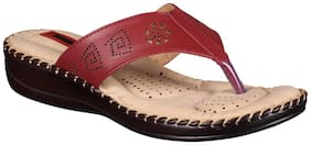 1 WALK COMFORTABLE DR SOLE WOMEN_FLATS/SANDALS/FANCY WEAR/PARTY WEAR/ORIGINAL/SLIPPERS/CASUAL FOOTWEAR_MAROON