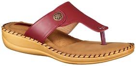 1 WALK COMFORTABLE DR SOLE WOMEN_FLATS/SANDALS/FANCY WEAR/PARTY WEAR/ORIGINAL/SLIPPERS/CASUAL FOOTWEAR_MAROON