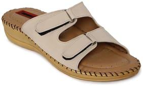 1 WALK COMFORTABLE DR SOLE WOMEN--FLATS/SANDALS/FANCY WEAR/PARTY WEAR/ORIGINAL/CASUAL FOOTWEAR--BEIGE