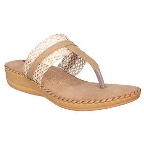 1 WALK COMFORTABLE DR SOLE WOMEN_FLATS/SANDALS/FANCY WEAR/PARTY WEAR/ORIGINAL/CASUAL FOOTWEAR_Beige