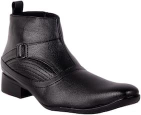 1AAROW Men Black Ankle Boots - 2801-BLACK-BOOT