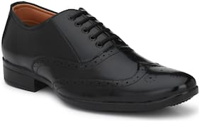 Aaravin's Men's Black Brogue Synthetic Lace up Formal Shoe