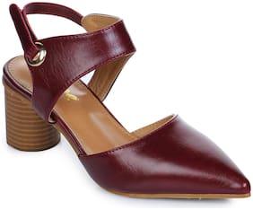 Aber & Q Women Maroon Heeled Sandals