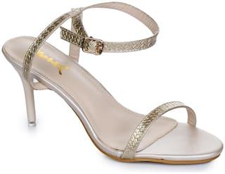 Aber & Q Women Gold Heeled Sandals