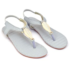 Ackee Women Grey T-Strap Flats