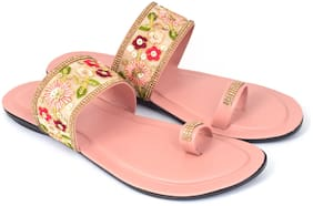 Ackee Women Pink One Toe Flats