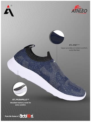 Action Running Shoes For Men ( Grey , Blue )