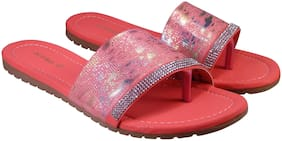 Action Synergy Glossy Crystal MW01 Pink Flats Sandal For Women Size-5